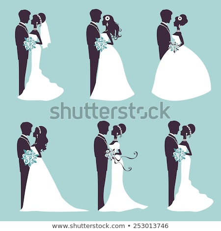 Stock photo: silhouette of the bride and groom at a wedding