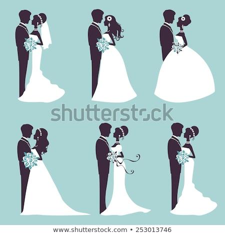 Sziluett menyasszony vőlegény esküvő fű nők Stock fotó © ruslanshramko