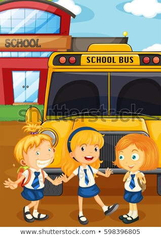 Three students in uniform by the schoolbus Stock photo © colematt