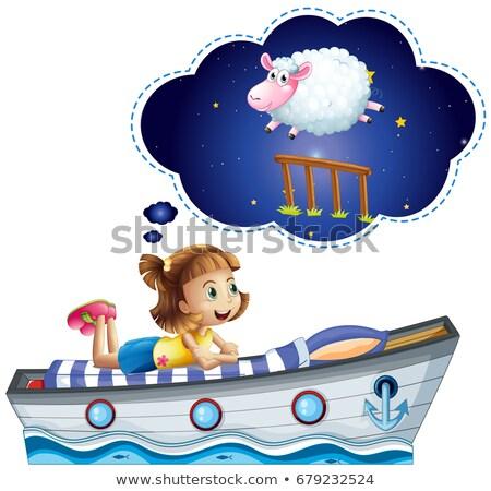 Lány álmodik ágy alakú hajó illusztráció Stock fotó © colematt