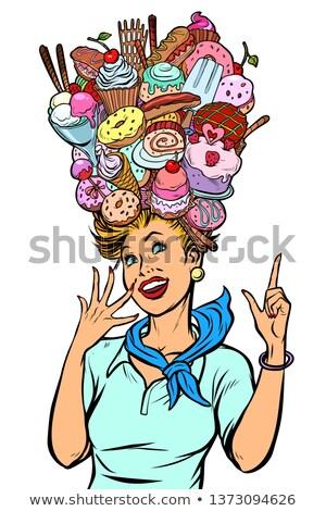 Stewardess woman dreams of sweet Stock photo © studiostoks