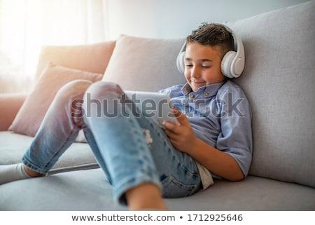Little boy listens music Stock photo © Anna_Om