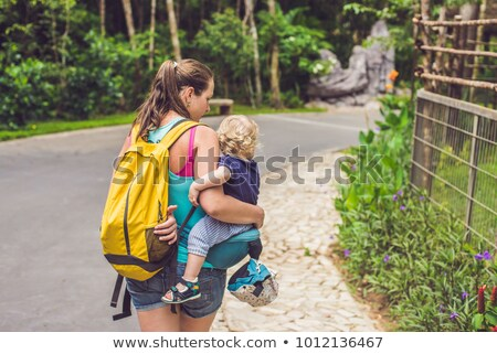 Mom walks with a baby in the park, using a hip seat stock photo © galitskaya