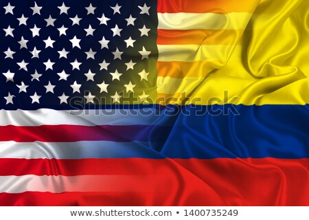 Two waving flags of United States and colombia Stock photo © MikhailMishchenko