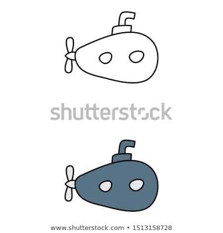 Katonaság tengeralattjáró kézzel rajzolt skicc firka ikon Stock fotó © RAStudio