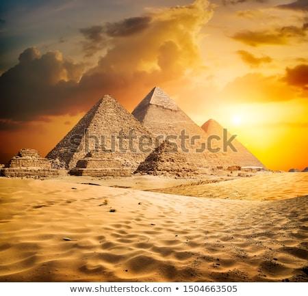日没 · ピラミッド · ビッグ · 鳥 · 空 · 太陽 - ストックフォト © givaga