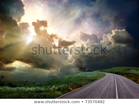 Borde del camino dorado cielo paisaje ilustración coche Foto stock © colematt