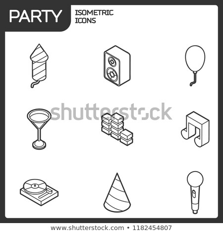 Pyrotechnics color outline isometric icons Stock photo © netkov1