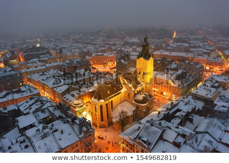 Aerial view of the historical center of Lviv in winter, UNESCO's Stock photo © vlad_star