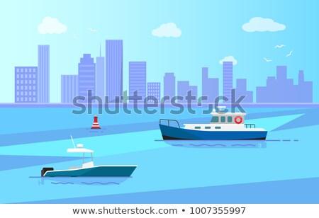 海 釣り モータ ボート 長い 海岸 ストックフォト © robuart