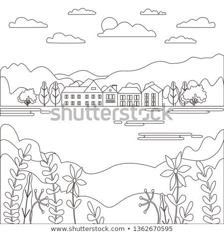 Léger ligne paysage rural ferme Photo stock © cosveta