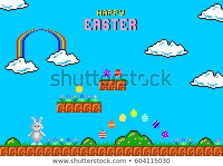 Easter Bunny kunst beetje spel cartoon Stockfoto © Krisdog