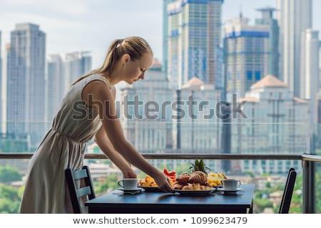 tabel · restaurant · tafelgerei · glas · banket · zomer - stockfoto © galitskaya