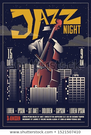 Photo stock: Vector jazz festival poster with double bass musicion. Jazz concert poster.