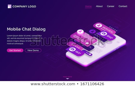 Stock photo: Messenger chatbot isometric 3D landing page.
