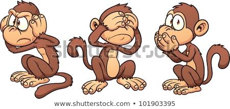 Stok fotoğraf: Monkeys See Hear Speak No Evil Cartoon Characters