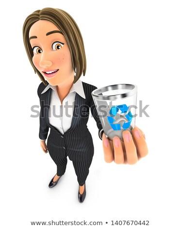 3D femme d'affaires poubelle icône illustration Photo stock © 3dmask