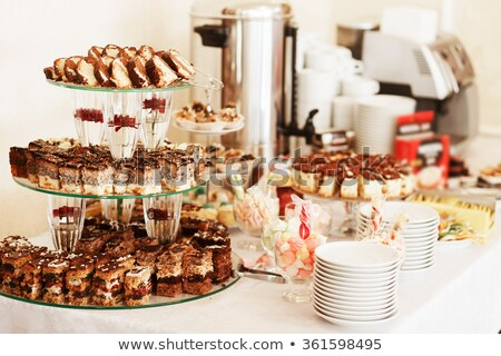 tray with delicious cakes and macaroon stock photo © amok