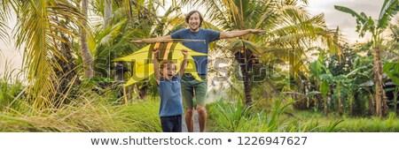 Dad and son launch a kite in a rice field in Ubud, Bali Island,  Stock photo © galitskaya