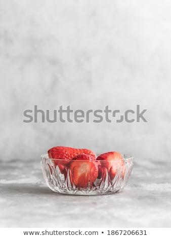 Strawberries in grey bowl. Fresh strawberries. Beautiful strawberries.  stock photo © Illia