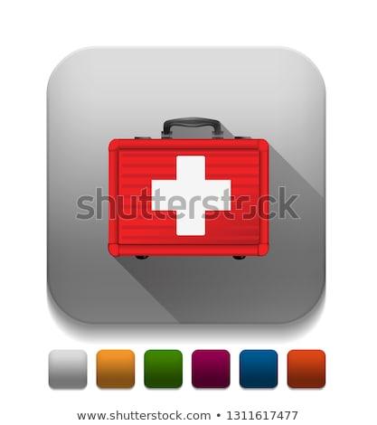 Elsősegély tok ikon vészhelyzet orvosi felszerelés gyógyszertár Stock fotó © Imaagio
