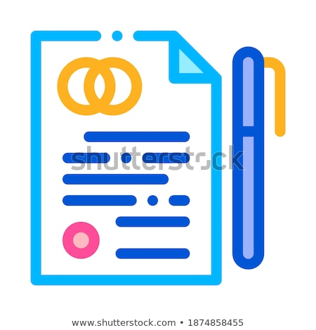 pre nuptial agreement sign thin line vector icon stock photo © pikepicture
