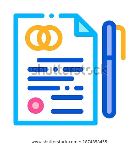 Overeenkomst teken dun lijn vector icon Stockfoto © pikepicture