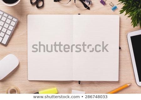 Lege Open notebook houten notebooks witte Stockfoto © furmanphoto