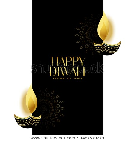 nice happy diwali black and gold background design Stock photo © SArts
