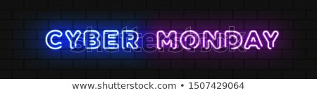 horizontal colorful neon cyber monday sign stock photo © voysla