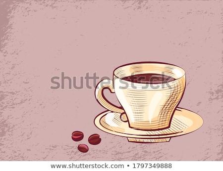 Café cartaz copo pires feijões Foto stock © robuart