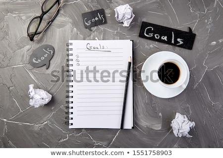 Objetivos memorándum cuaderno idea papel taza Foto stock © Illia