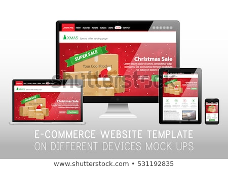 christmas sale template e commerce online shop web site landing page mockup vector illustration stock photo © ikopylov
