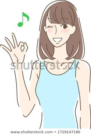 simple tank top woman_OK-sign Stock photo © toyotoyo