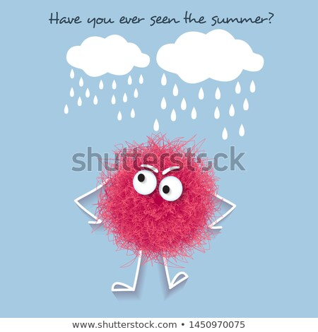Funny  summer banner with fluffy pink creature  Stock photo © balasoiu