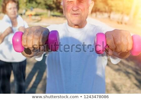 Dziadkowie sportowe fitness hantle pop art retro Zdjęcia stock © studiostoks