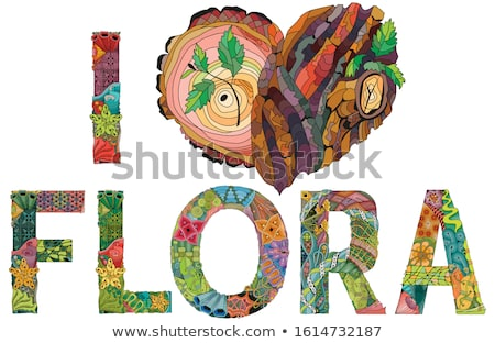 FLORA wjth doodle heart with tree bark texture and young shoots Stock photo © Natalia_1947