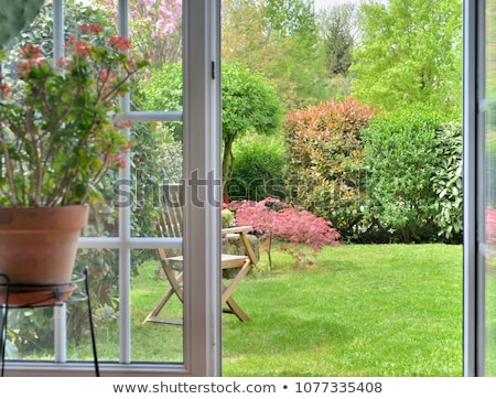 Stock photo: Open windows to the garden