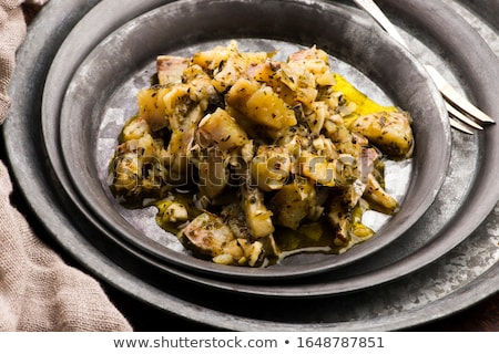 Herring salad with garlic, herbs and olive oil Stock photo © joannawnuk