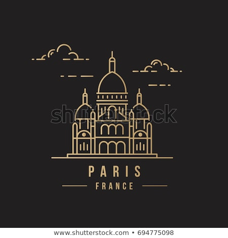 Outline Basilica of the Sacred Heart, Paris, France Stock photo © ShustrikS