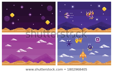 Monster of Pixel Game in Spaceship, Alien Vector Stock photo © robuart
