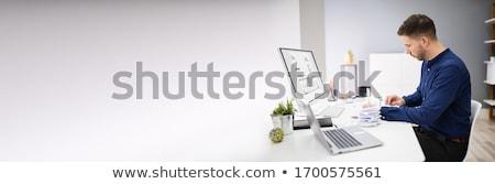 Heureux comptable facture logiciels budgétaire ordinateur Photo stock © AndreyPopov