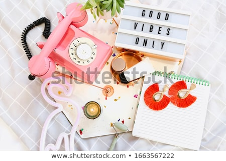 Girly accessories on bed at home Stock photo © dashapetrenko