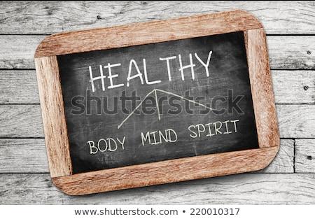 Stockfoto: Geest · lichaam · geest · tekening · cirkels · Blackboard