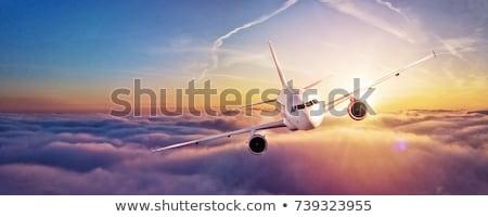 Foto stock: Jato · aeronave · vôo · panorâmico · imagem · céu