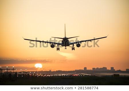 金 飛行機 シルエット 準備 離陸 平面 ストックフォト © TheModernCanvas