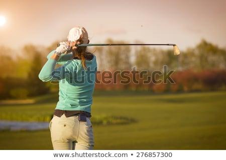 golflabda · nő · tart · klub · golf · jókedv - stock fotó © piedmontphoto