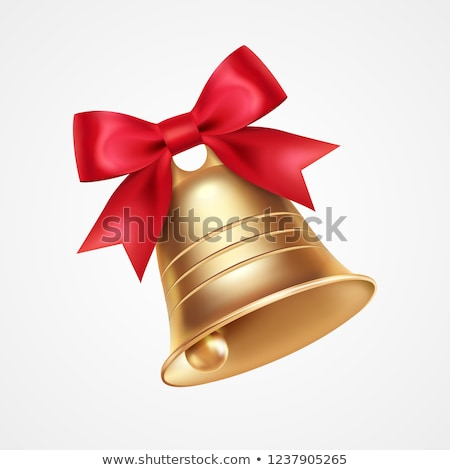 bell golden for christmas or wedding with red bow stock photo © hermione