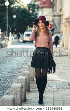 rosa · cabelo · menina · alto · botas · quadro - foto stock © dolgachov