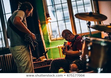 Stock fotó: Zenekar · gyakorlat · zene · férfi · gitár · kő